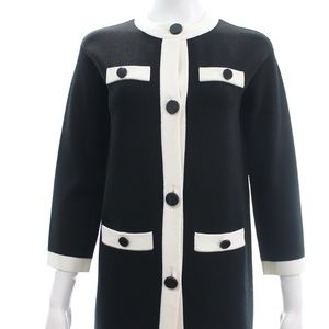 KATE SPADE BLACK LONG CARDIGAN WITH WHITE TRIM XXS